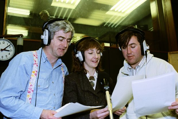 Scrap Saturday: Dermot Morgan making the radio satire with Pauline McLynn and Gerry Stembridge in 1990. Photograph: RTÉ