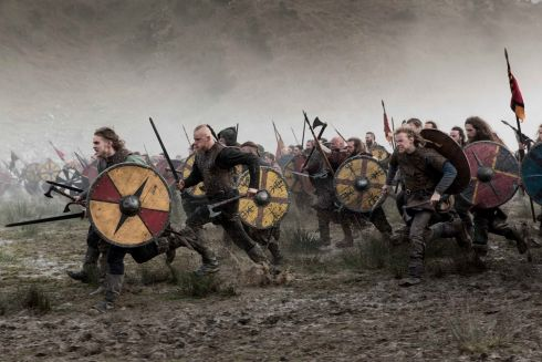 The show opens on Thursday 22nd February at the Mermaid Arts Centre, Bray, Co Wicklow. The Vikings charge into battle against the Saxons,  Hollywood, Co, Wicklow.  Photograph:Jonathan Hession