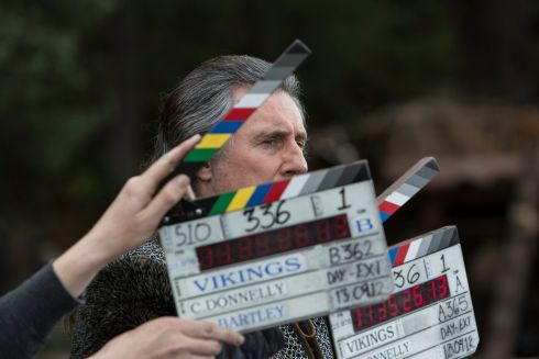 Gabriel Byrne during filming Season 1 of Vikings.  Photograph: Jonathan Hession