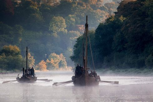 Viking Longships go up the River Tyne.  Filmed on the River Boyne, Slane, Co. Meath. Photograph: Jonathan Hession