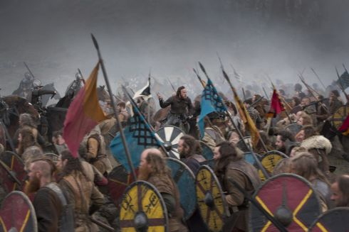 Aethelwulf (Moe Dunford) leads the Saxons into battle. Hollywoood Co. Wicklow. Photograph: Jonathan Hession
