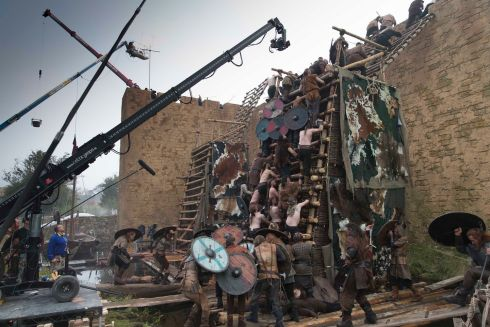 Filming the siege of Paris at Ashford Studios.  Photograph: Jonathan Hession