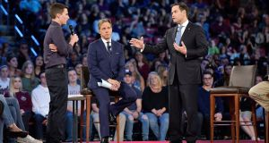 "Marjory Stoneman Douglas high school student Cameron Kasky confronts Republican senator Marco Rubio at a town hall meeting in Florida on Wednesday. ""Can you tell me right now you will not accept a single donation from the NRA?"", the student asked. Photograph: Michael Laughlin/South Florida Sun-Sentinel via AP"