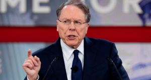 National Rifle Association executive vice-president  Wayne LaPierre speaks during the 2018 Conservative Political Action Conference at National Harbor in Oxen Hill, Maryland. Photograph: Jim Watson/AFP/Getty Images