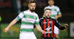 Shamrock Rovers Greg Bolger challenges Bohemians' Keith Ward during the Bohs' 3-1 victory at Dalymount Park on the opening night. Photograph: Gary Carr/Inpho