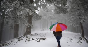 A woman in Corsica walks in a forest covered by snow  as a wave of cold weather hits France on Thursday. Photograph: AFP/Getty Images