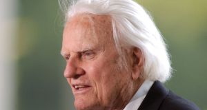 Rev Billy Graham: spread his influence across the US and around the world through a combination of religious conviction, commanding stage presence and shrewd use of radio, television and advanced communication technologies. File photograph: Robert Padgett/Reuters