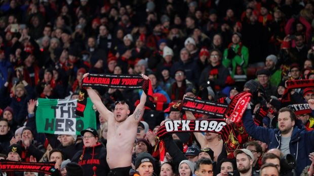 Ostersunds FK fans salute their players after the match. Photograph: Eddie Keogh/Reuters