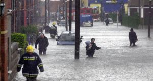 Flooding in the Ringsend area of Dublin in 2002 after the Dodder burst its banks