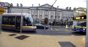 The Luas tram at College Green, Dublin. New figures show the divergence in income between the regions and Dublin was at its lowest in 2010 at the height of the financial crisis but has widened each year since then. Photograph: Cyril Byrne