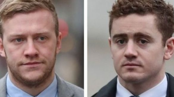 Stuart Olding (left) and Paddy Jackson have pleaded not guilty to rape and sexual assault charges.