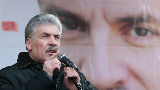 Pavel Grudinin speaks at a rally to mark Defender of the Fatherland Day in central Moscow. Photograph: Tatyana Makeyeva/Reuters
