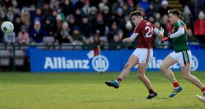 Barry McHugh of Galway scores against Mayo at Pearse Stadium in Galway earlier this month. Photograph: Donall Farmer/Inpho