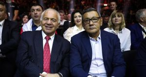 "Franco Falcinelli, former vice president of the AIBA with acting AIBA president Gafur Rakhimov who was  ""installed"" during a lunch break at the AIBA Congress in Dubai last month.  Photograph:  Valery Sharifulin/TASS/Getty"