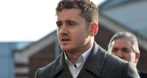 Paddy Jackson arriving at  Laganside Magistrates court. He is charged with one count of rape and one count of sexual assault. Photograph: Pacemaker