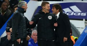 José Mourinho  and Antonio Conte  are separated by a fourth official during  an FA Cup quarter-final  between Chelsea and Manchester United at Stamford Bridge on March 13th, 2017. Photograph:  Getty Images