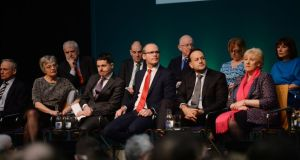 Members of the Cabinet on stage for the launch of  Project Ireland 2040, at Sligo's Institute of Technology. Photograph: Alan Betson/The Irish Times