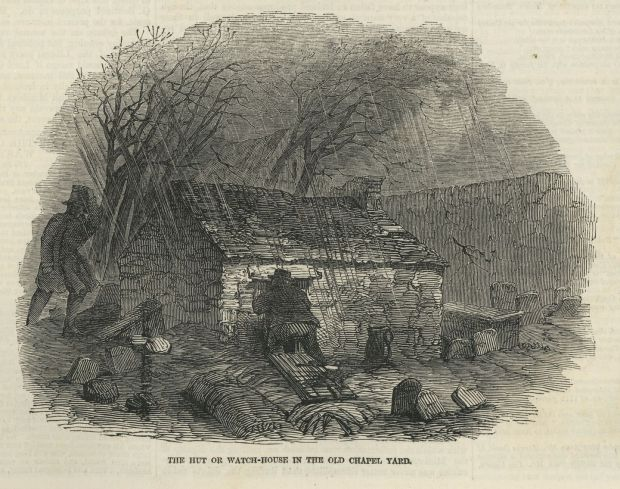 'The hut or watch-house in the old Chapel Yard'. Sketches in the West of Ireland by James Mahony. Illustrated London News. February 13th, 1847
