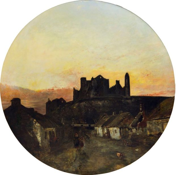 Sunset or View of the Rock of Cashel from the Village by Henry Mark Anthony. Oil on canvas,114x114cm. Ireland's Great Hunger Museum. Photograph: Autumn Driscoll/Quinnipiac University