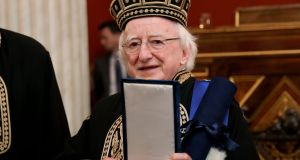 President Michael D Higgins at the University of Athens where he received an honorary degree. Photograph: Maxwell