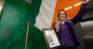 Kate Lynch who won a scholarship for the 2017 Thomas F Meagher Foundation Flag Day at the 1st ever permanent exhibition on the Irish  Tricolour at the GPO, Dublin. Photograph: Gareth Chaney Collins
