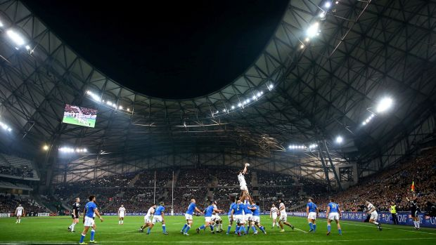 France played their first Six Nations game away from Paris at Marseille's Stade Velodrome. Photograph: Matteo Ciambelli/Inpho