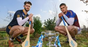 Fitzgibbon Cup finalists, Conor Cleary of University of Limerick and Paudie Foley of Dublin City University. Photograph: Sam Barnes/Sportsfile