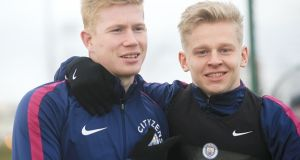 Oleksandr Zinchenko has been mistaken for his teammate Kevin De Bruyne. Photograph: Victoria Haydn/Man City via Getty Images