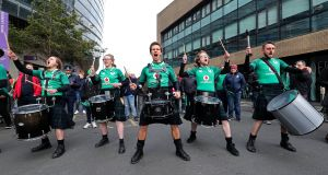 The pre-match entertainment drummers get in some last minute practice. Photograph: Inpho