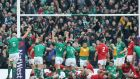 The Ireland players celebrate after Dan Leavy scores their third try. Photograph: Getty Images