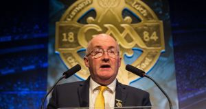 Newly elected GAA president John Horan gives his first speech to congress in the role. Photograph: Oisin Keniry/Inpho