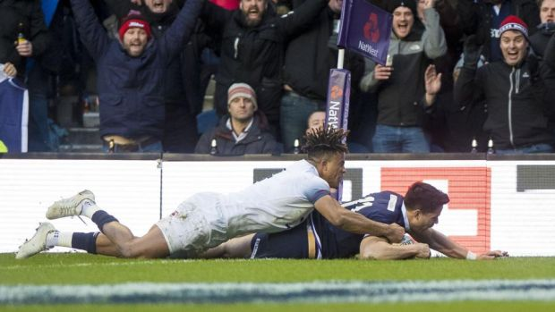 Scotland's Sean Maitland scores a try. Photograph: Craig Watson/Inpho