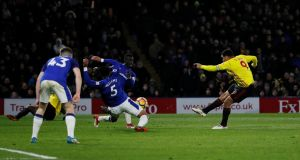 Troy Deeney scores Watford's winner against Everton at Vicarage Road. Photograph: David Klein/Reuters