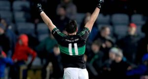 Paul Kerrigan of Nemo celebrates at the final whistle. Photograph: Donall Farmer/Inpho