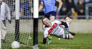 Mayo goalkeeper Rob Hennelly is unable to keep out Paul Mannion's early goal. Photograph: Laszlo Geczo/Inpho