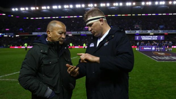 Eddie Jones and Dylan Hartley after England's defeat at Murrayfield. Photograph: Michael Steele/Getty