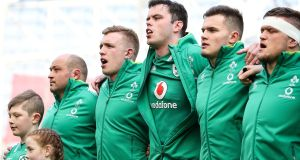 Ireland's Rory Best, Dan Leavy, James Ryan, Jacob Stockdale and Andrew Porter during the national anthems. Photograph: Billy Stickland/Inpho