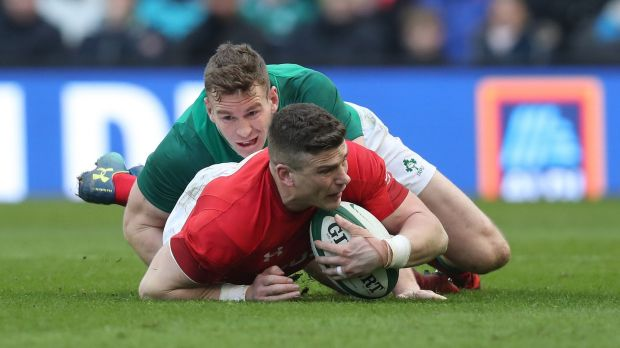 Chris Farrell tackles Scott Williams during Ireland's Six Nations win over Wales. Photograph: Billy Stickland/Inpho