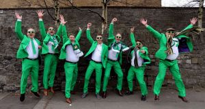 Irish fans L to R  Mike Fedin, Mike Donnachie, Pete Donnachie, Tom Donnachie, Gary Turner , Chris Rigby Dave Durant. Pic  Tom Honan.
