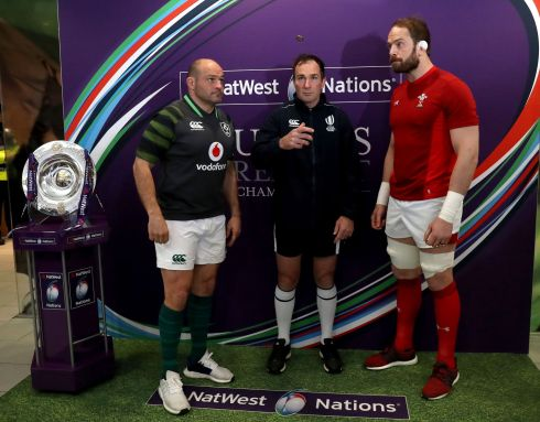 Referee Glen Jackson with Ireland captain Rory Best and Wales captain Alun Wyn Jones at the coin toss. Photograph: Inpho