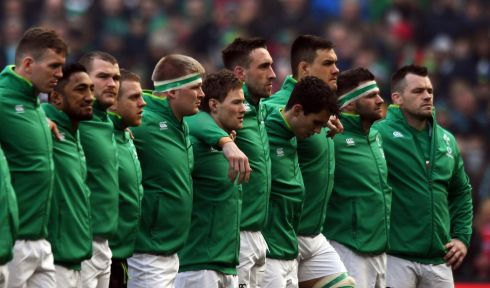 Ireland players line up for the national anthem. Photograph: Reuters