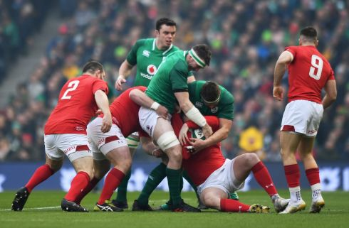 Ireland's Peter O'Mahony in the thick of the action. Photograph: Clodagh Kilcoyne/Inpho
