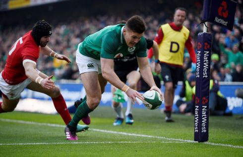 Irish winger Jacob Stockdale scores an early try. His seventh in seven games. Photograph: Reuters