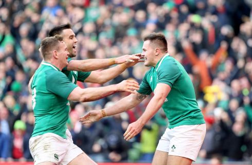 Ireland's Jacob Stockdale celebrates his try with Conor Murray and Chris Farrell. Pic  Tom Honan.