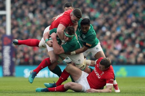 Ireland's CJ Stander and Bundee Aki holding on to the ball for dear life. Photograph: PA