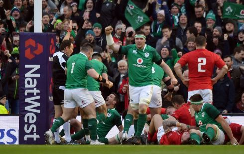 Irish players celebrate after their third try scored by Dan Leavy. Photograph: Reuters