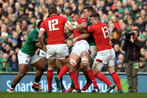 Heat of battle - Ireland try to execute a choke tackle. Photograph: Reuters