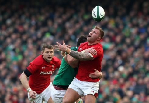 Wales' Ross Moriarty fumbles under pressure. Photograph: PA