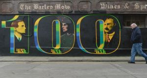 A century since the Rising: street art on Marks Alley West in Dublin. Photograph: Artur Widak/NurPhoto via Getty