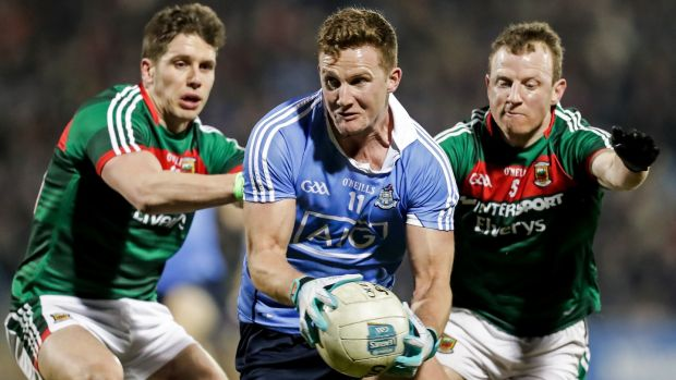 Dublin's Ciarán Kilkenny with Lee Keegan and Colm Boyle of Mayo during Saturday's Allianz League game at MacHale Park. Photograph: Laszlo Geczo/Inpho